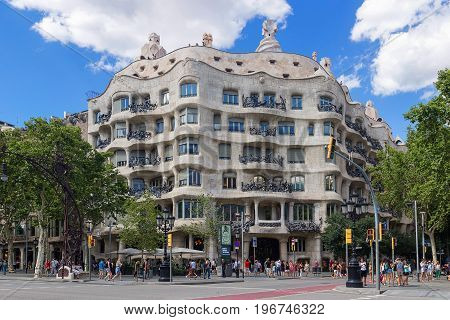 Barcelona, Spain Catalonia - June, 2017. Casa Mila - La Pedrera by famous Catalan architect Anthoni Gaudi.