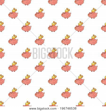 Piggy bank pattern seamless repeat in cartoon style vector illustration