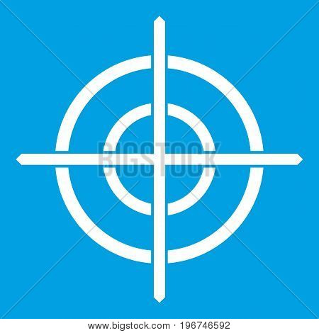 Target crosshair icon white isolated on blue background vector illustration