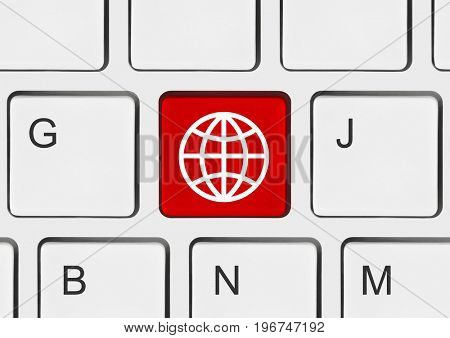 Computer keyboard with Globe key - communication background