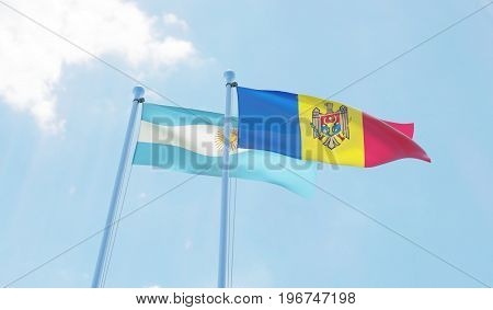 Moldova and Argentina, two flags waving against blue sky. 3d image