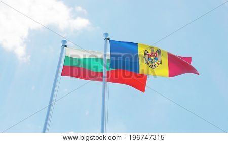 Moldova and Bulgaria, two flags waving against blue sky. 3d image