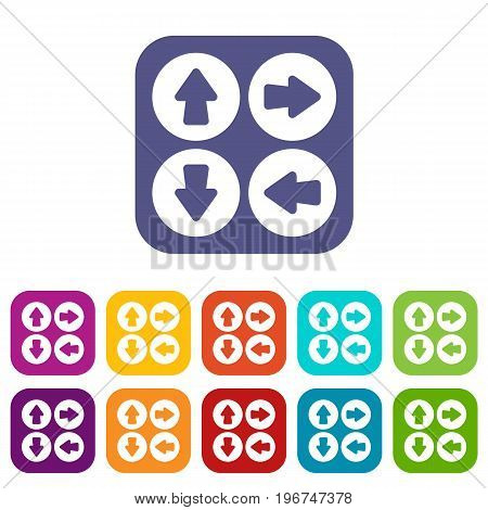 Arrow set icons set vector illustration in flat style in colors red, blue, green, and other