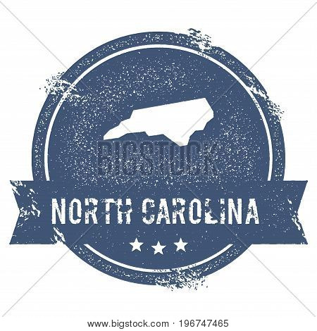 North Carolina Mark. Travel Rubber Stamp With The Name And Map Of North Carolina, Vector Illustratio
