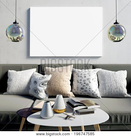 Mock up poster in interior with coffee table and sofa. living room. resting place. modern style. 3d illustration