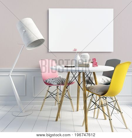 Delicate girlish interior consisting of a dining area and a floor lamp. Poster mockup. 3d illustration