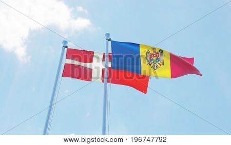 Moldova and Denmark, two flags waving against blue sky. 3d image