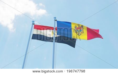 Moldova and Egypt, two flags waving against blue sky. 3d image