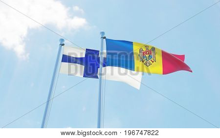 Moldova and Finland, two flags waving against blue sky. 3d image