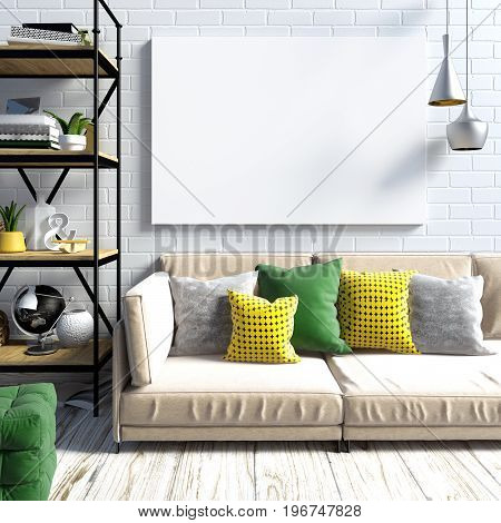 Modern light interior in the style loft consisting of a shelf with trinkets and Souvenirs beige sofa with colourful cushions bright metal fixtures and poster against the light brick wall. poster mock up. 3d illustration