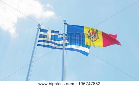 Moldova and Greece, two flags waving against blue sky. 3d image