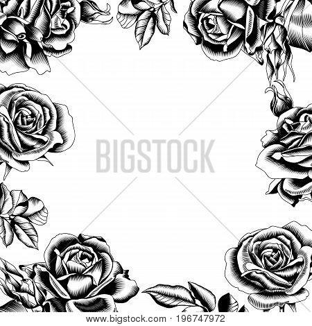 black roses frame, fabric black roses frame, graphic black roses frame, ink black roses frame, pattern roses frame, floral pattern frame. Vector.