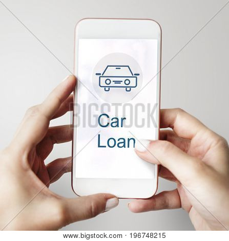 Car Loan Icon on the Screen of mobile device