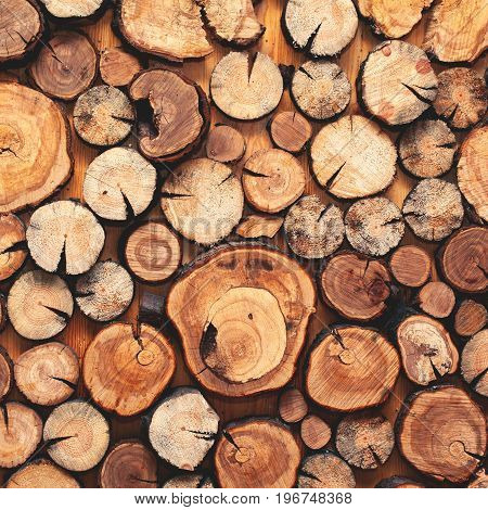 Close up of pile of wooden logs for background or texture top view