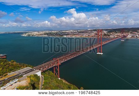 Lisbon and 25th of April Bridge - Portugal - architecture background