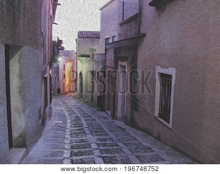 Night street in Erice small old town on Sicily Italy. Digital oil painting. Realistic picture effect photo paint. Artistic attractive image