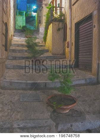 Street stairs with garden-pots in the night city Cefalu on Sicily Italy. Digital oil painting. Realistic picture effect photo paint. Artistic mysterious image