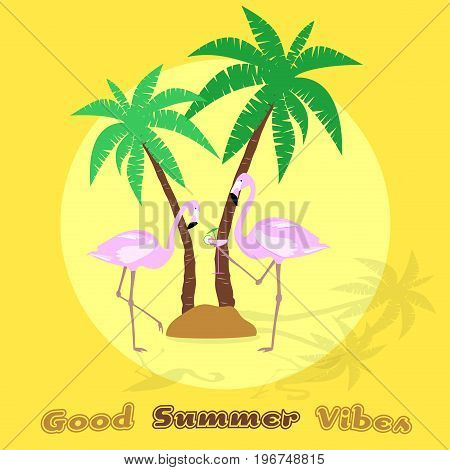 Summertime. Good vibes only with flamingos, palms and a cocktail in trendy pineapple colors.