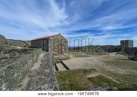 View of the inside walls and chapel of the Monsanto Castle in the historic village of Monsanto Portugal