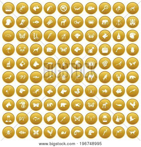 100 animals icons set in gold circle isolated on white vector illustration