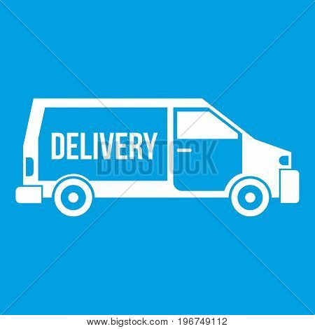 Delivery truck icon white isolated on blue background vector illustration