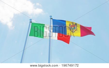Moldova and Italy, two flags waving against blue sky. 3d image