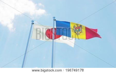 Moldova and Japan, two flags waving against blue sky. 3d image