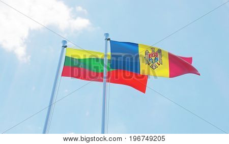 Moldova and Lithuania, two flags waving against blue sky. 3d image