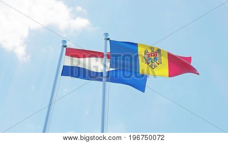 Moldova and Netherlands, two flags waving against blue sky. 3d image