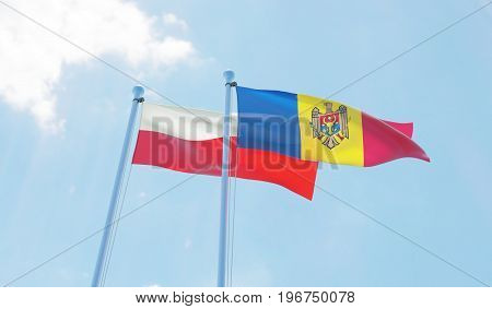 Moldova and Poland, two flags waving against blue sky. 3d image