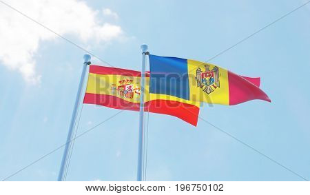 Moldova and Spain, two flags waving against blue sky. 3d image