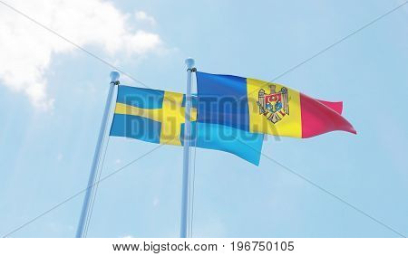 Moldova and Sweden, two flags waving against blue sky. 3d image