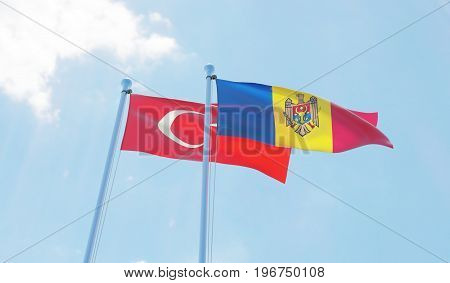 Moldova and Turkey, two flags waving against blue sky. 3d image
