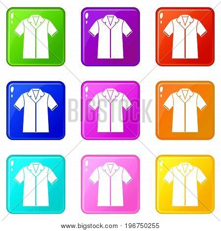 Shirt polo icons of 9 color set isolated vector illustration