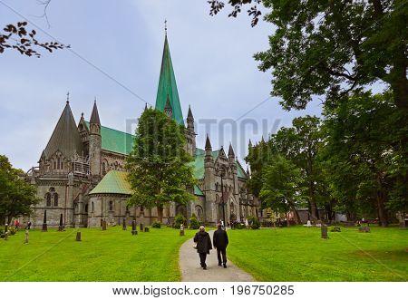 Cathedral in Trondheim Trondheim Norway - architecture background