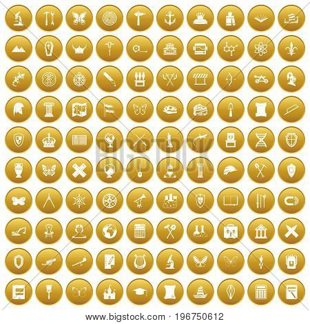 100 archeology icons set in gold circle isolated on white vector illustration