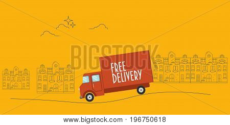 Free Delivery van or lorry vector banner in flat style.