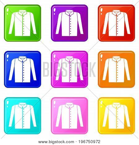 Shirt icons of 9 color set isolated vector illustration
