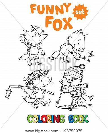 Coloring book set of funny little baby fox, watering flower, waving by hand, going skiing, going fishing. Children vector illustration