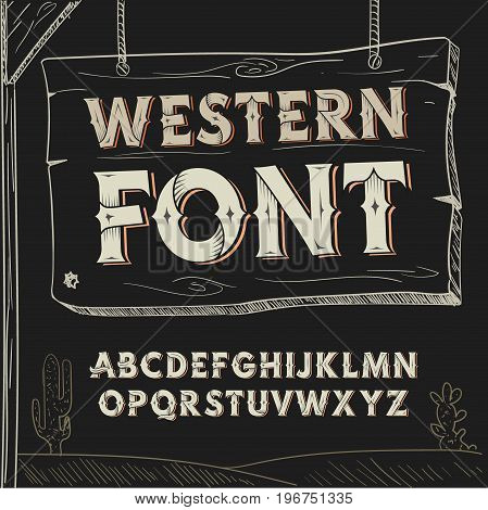 Retro western font. Vector alphabet on dark background.