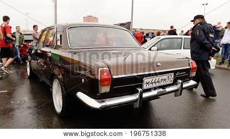Orel Russia July 22 2017: Dynamica car festival. Old retro Soviet Volga car closeup