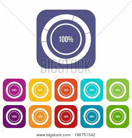 Diagram pie chart icons set vector illustration in flat style in colors red, blue, green, and other