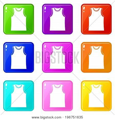 Singlet icons of 9 color set isolated vector illustration