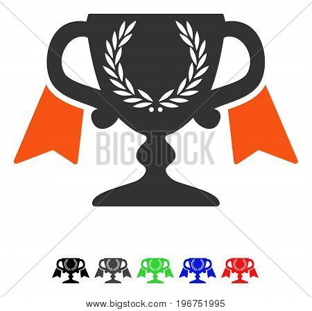 Award Cup flat vector icon with colored versions. Color award cup icon variants with black, gray, green, blue, red.