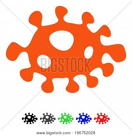 Bacteria flat vector pictograph with colored versions. Color bacteria icon variants with black, gray, green, blue, red.