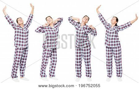 Woman In Pajama In A Row Stretches Against A White Background
