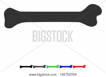 Bone flat vector pictograph with colored versions. Color bone icon variants with black, gray, green, blue, red.