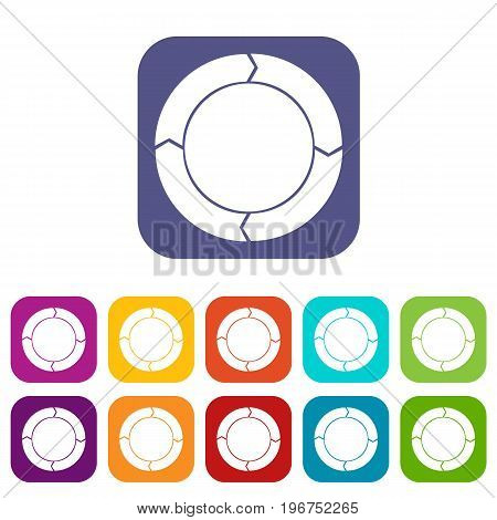 Diagram pie chart with arrows icons set vector illustration in flat style in colors red, blue, green, and other