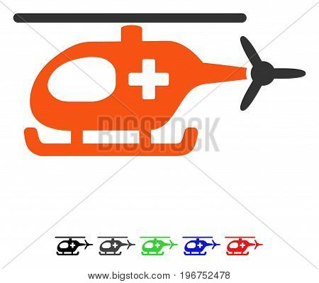 Emergency Helicopter flat vector pictogram with colored versions. Color emergency helicopter icon variants with black, gray, green, blue, red.