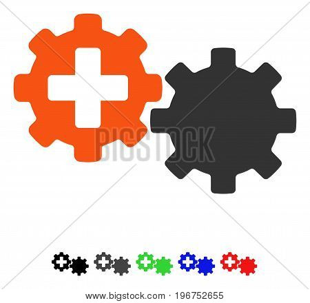 Medical Process Gears flat vector pictogram with colored versions. Color medical process gears icon variants with black, gray, green, blue, red.